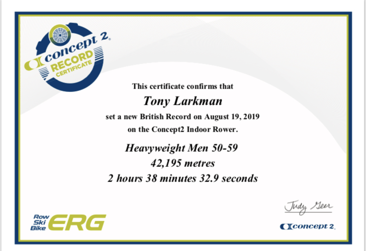 INDOOR ROWING MARATHON – BRITISH RECORD HWT 50-59