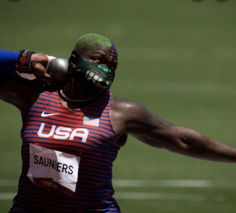 Raven Saunders winning silver in the shot-put