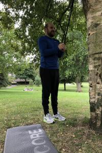 Ben training in the park, despite a sudden downpour